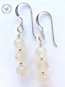 Pale Blue Faceted Chalcedony Earrings